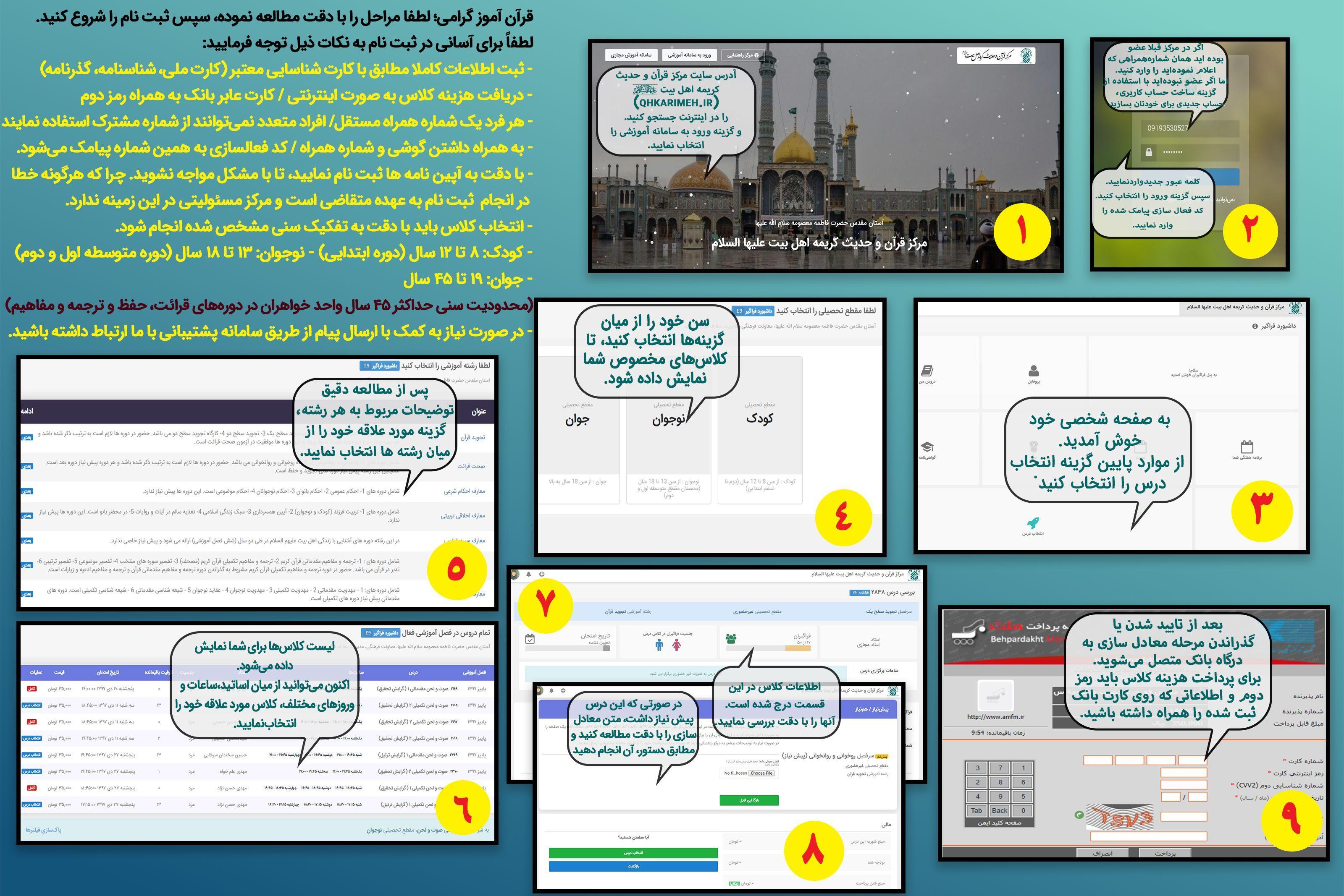 مراحل ثبتنام اینترنتی + تصویر
